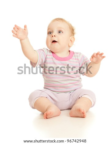 adorable happy boy looking up studio shot - stock photo