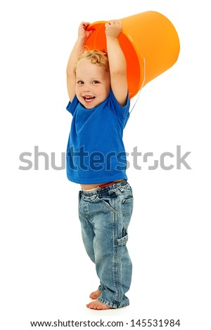 Adorable Happy Boy with Mop Bucket Over Head, barefoot on white. - stock photo