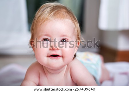 adorable happy smiling baby - stock photo