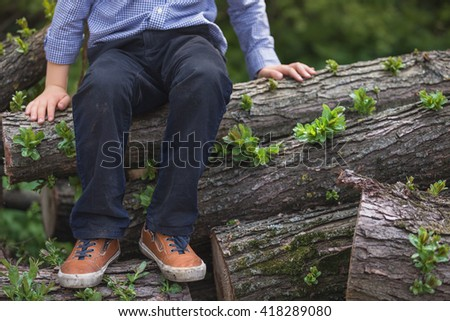 Adorable kid boy sitting on the pile of old trees. outdoors, countryside. Playing at the farm. Child in nature, sitting in a pile of trunks - stock photo