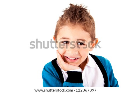 Adorable kid over white background