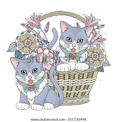 Adorable Kitty In Basket Coloring Page Exquisite Line
