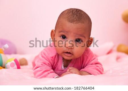 Adorable little african american baby girl - Black people - stock photo