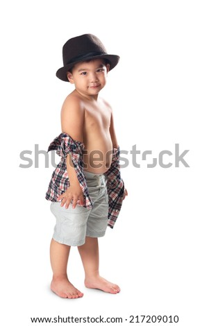 Adorable little asian boy posing, Isolated over white - stock photo