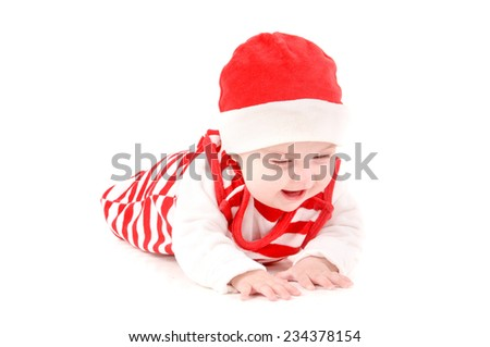 adorable little baby on christmas isolated in white background