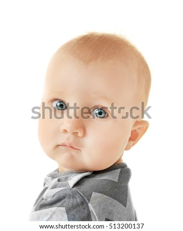 Adorable little baby on white background, close up