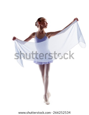 Adorable little ballerina dancing with cloth - stock photo