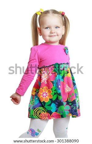 Adorable little blonde girl with short bangs and long bunches Close-up-isolated on white background - stock photo