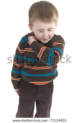 Adorable little boy with the flu - stock photo