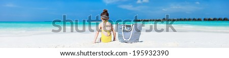 Adorable little girl at tropical during summer vacation. Wide panorama, perfect for banners - stock photo