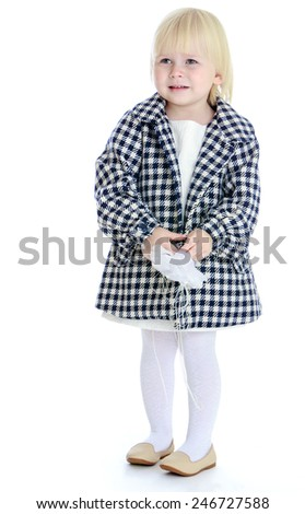 Adorable little girl coat.concept childhood education and child development.Isolated on white background - stock photo