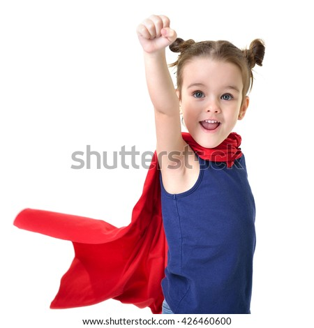 Adorable little girl flying like a superhero in blue t-shirt and red mantle. Super girl. The new generation saves the world. Good triumphs over evil. - stock photo