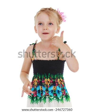 Adorable little girl gesturing.Isolated on white background - stock photo