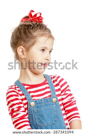 Adorable little girl in dress with straps large plan-isolated on white background - stock photo
