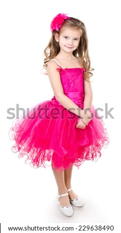 Adorable little girl in princess dress isolated on a white background - stock photo
