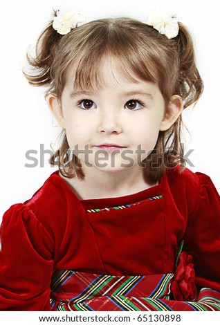 Adorable little girl isolated on white background - stock photo