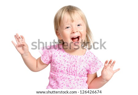 adorable little girl laugting ang singing expressively isolated over white - stock photo
