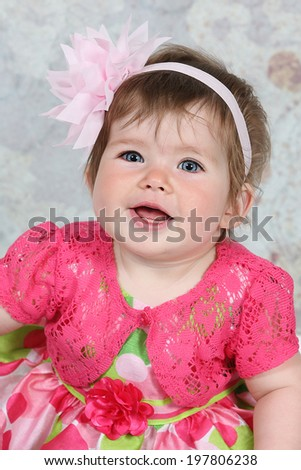 Adorable little girl on background - stock photo