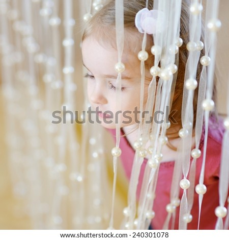 Adorable little girl portrait at home - stock photo