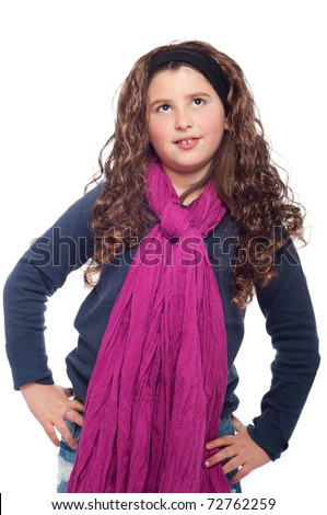adorable little girl portrait posing dressed as teenager with long wig and glitter (isolated on white background)