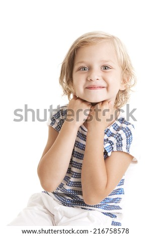 Adorable  little girl  putting her hands to the face and looking at the camera on white background  - stock photo