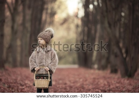 Adorable little girl with a basket outdoors at beautiful autumn park - stock photo