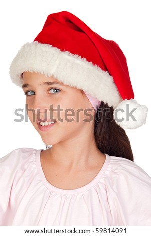 Adorable little girl with blue eyes and Christmas cup isolated on white background - stock photo