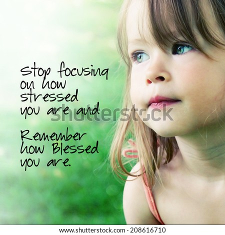 Adorable little girl with quote - stock photo