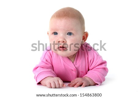 adorable little infant 3 month old with blue eyes