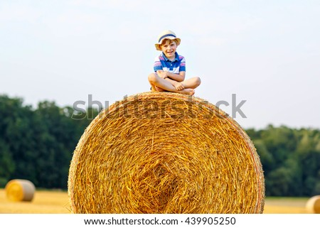 Adorable little kid boy in traditional German bavarian clothes, leather shorts and check shirt. Child sitting on hay stack or bale. Active outdoors leisure with children on warm summer day. - stock photo