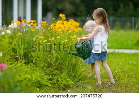 Adorable little preschooler girl watering pretty yellow flowers in the garden - stock photo
