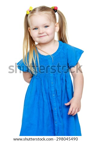 Adorable little round-faced girl with long blonde tails on the head-Isolated on white - stock photo
