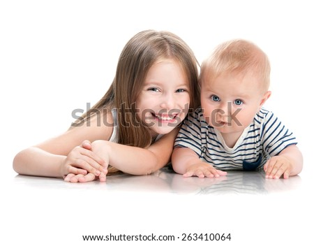 adorable little sisters isolated on white background - stock photo