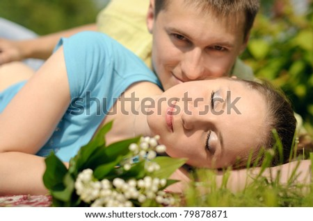 adorable man and woman relax and enjoy nature