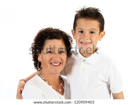 Adorable mother and son for mothers day on white background
