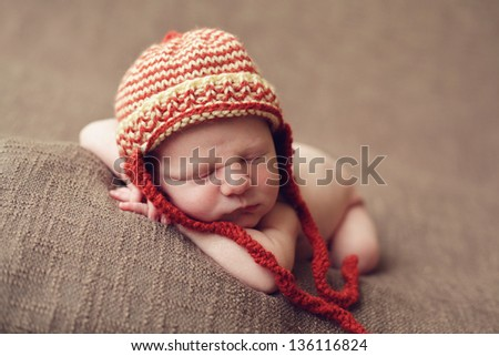 Adorable newborn baby - stock photo