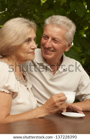 Adorable older couple sitting at a table at home on the veranda - stock photo