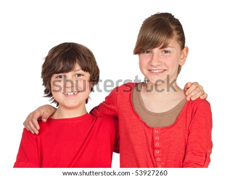 Adorable preteen girl and little gir in red isolated on white background