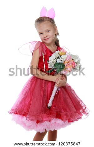 Adorable princess with flowers on Holiday theme
