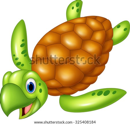 Adorable sea turtle. isolated on white background - stock photo