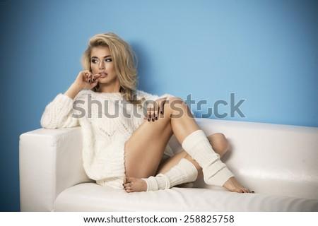 Portrait Sexual Woman Bent Bed Stock Photo (Edit Now
