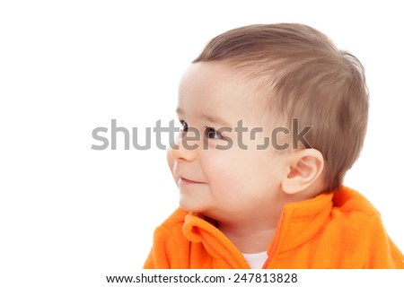 Adorable six month baby with looking at side isolated on white background - stock photo
