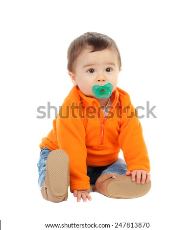 Adorable six month baby with orange jersey isolated on white background - stock photo