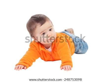 Adorable six month baby with orange jersey lying isolated on white background - stock photo