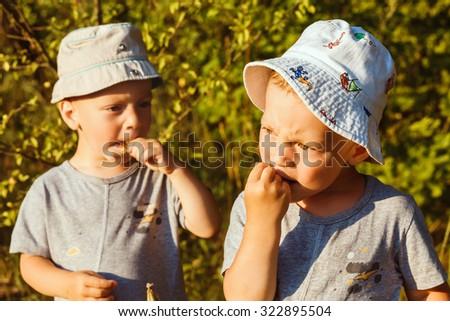 Adorable small boys eats white currant in a garden - stock photo
