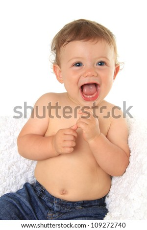 Adorable ten month old baby boy. - stock photo