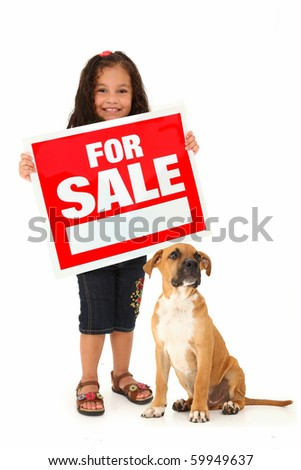 Adorable three year old hispanic girl and boxer puppy with red and white for sale sign over white background. - stock photo