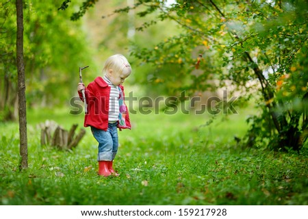 Adorable toddler girl hiking in the forest on autumn day