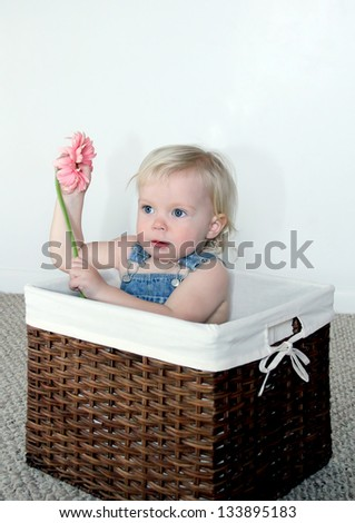 Adorable toddler girl sitting in a basket with pink flower