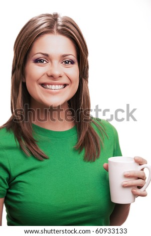 Adorable yong woman with cup [ isolated over white background ]